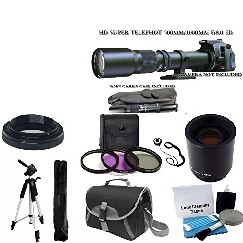 """500Mm -1000Mm F/8.0 High Definition Multi Coated Telephoto Lens With 2X Multiplier + Uv Filter Kit + 59"""" Lightweight Tripod + Case For All Digital Slr Canon Camera Eos Rebel T3, T3I, T4I, T5I, 40D, 60D, 70D, 6D, 7D, 5D Mark Iii,"""