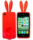 """Iphone 4 Silicone Rabbit Ear """"3d"""" hot RED Case Cover ~Ship From USA~ (Att & Verizon)"""