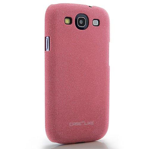 CaseiLike®, Rosa, Treibsand gummierte rutschsichere S3-Snap-on zurück Gehäuse für Samsung Galaxy S3 S 3 S III SIII i9300 mit Displayschutzfolie 1pcs.