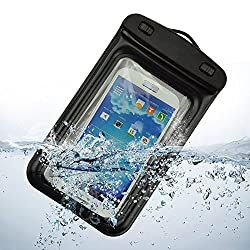 YGS WP-01 100% Water Proof and Dust Proof Touch Sensitive Transparent Universal Pouch Cover for All Mobile Phones (Upto 5 inch) with Neckstrap and Armband- Black