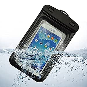 YGS 100% Water Proof Touch Sensitive Transparent Pouch Cover for Samsung Galaxy Grand i9082 with Neckstrap and Armband- Black