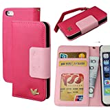 Case for Iphone 5,Case for Iphone 5s, By HiLDA,Wallet Case,PU Leather Case,Cut,Credit Card Holder,Flip Cover Skin,(Hermosa Pink)