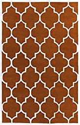 Orange Rug Contemporary Design 5-Foot x 8-Foot Hand-Made Wool Trellis Carpet