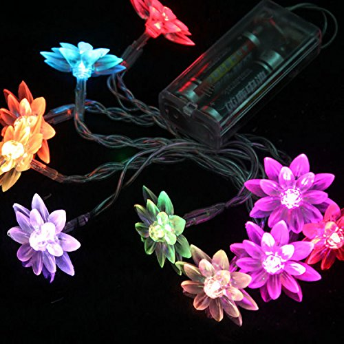 Hikong 1.2M 10 Leds Battery Powered Lotus Flower Outdoor Christmas Xmas Party Wedding Fairy String Lights Easy Taking For Decoration Lighting (Multi-Color) Pack Of 5