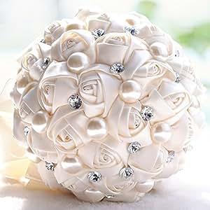 Ivory Crystal Bridal Wedding Bouquets Handmade Bridal