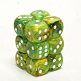Chessex Dice d6 Sets: Vortex Dandelion with White - 16mm Six Sided Die (12) Block of Dice by Chessex