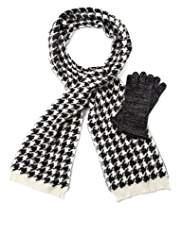 M&S Collection Houndstooth Knitted Scarf & Gloves Set