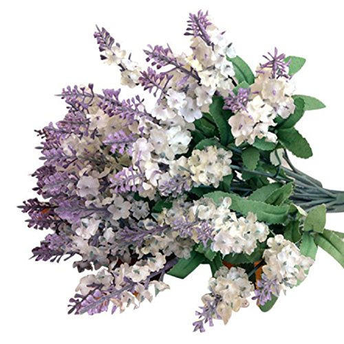 Ikevan Artificial Fake Flower Bush Bouquet Home Wedding Decor (White)