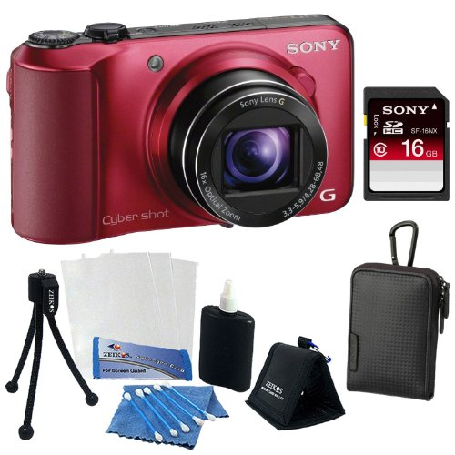Sony Cyber-shot DSC-HX10V 18.2MP Digital Camera with 16x Optical Zoom and 3.0-inch LCD in Black + Sony 4GB SDHC + Sony Case + Accessory Kit