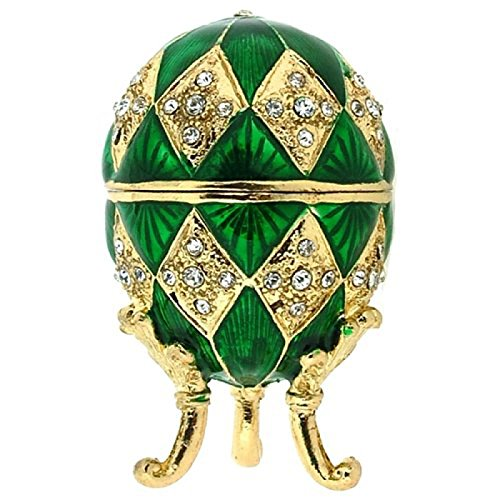 Juliana - Contenitori per minuteria da donna, uovo ovale stile Fabergé, in scatola con il nome della marca, colore: verde