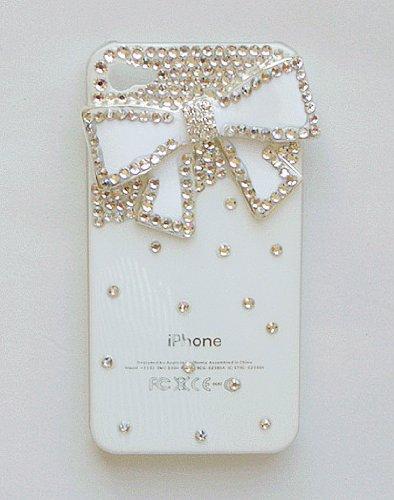 iPhone 4S/4 ケース カバー キラキラ デコ電 ビーズ ラインストーン ホワイト リボン
