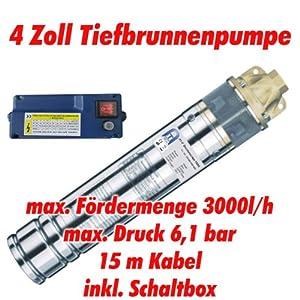 AgoraTec AT 4 Brunnenpumpe 750W, Edelstahl Tiefbrunnenpumpe mit max 6,1 bar, 3000l/h  GartenÜberprüfung und weitere Informationen