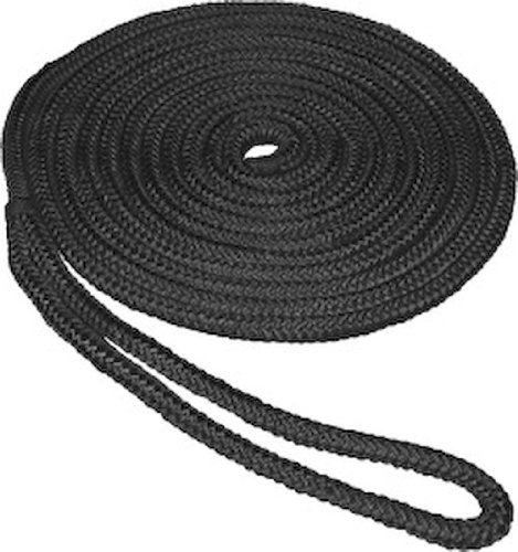 SeaSense Double Braid Nylon Dockline, 1/2-Inch X 15-Foot, Black