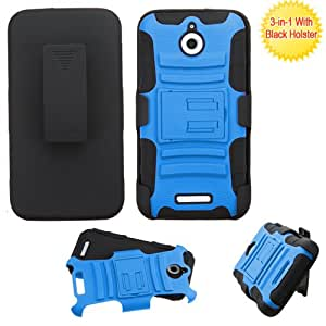 Asmyna Phone Case for HTC 510 (Desire 510) - Retail Packaging - Black/Blue