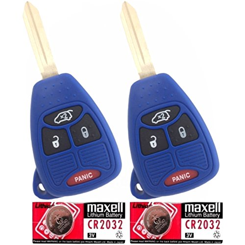 Discount Keyless Pair Of Navy Replacement 4 Button Automotive Keyless Entry Remote Control Transmitter Key Combos With Extra Batteries Compatible With Chrysler, Jeep, And Dodge Vehicles Kobdt04A Oht692427Aa