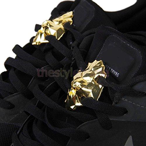 1 Pair Footful Lion Head Metal Shoe Lace Locks Art Decoration Pair Golden colors Shoe Bookends