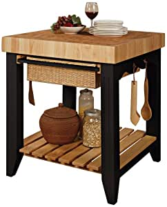 Powell Color Story Black Butcher Block Kitchen Island Kitchen Islands Carts