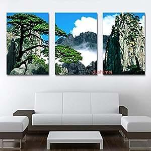 3 teiliges bild auf leinwand motiv chinesische landschaft. Black Bedroom Furniture Sets. Home Design Ideas