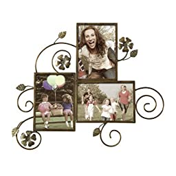 Adeco Decorative Bronze-Color Iron Wall Hanging Collage Picture Photo Frame, 5 x 7-Inch by Adeco