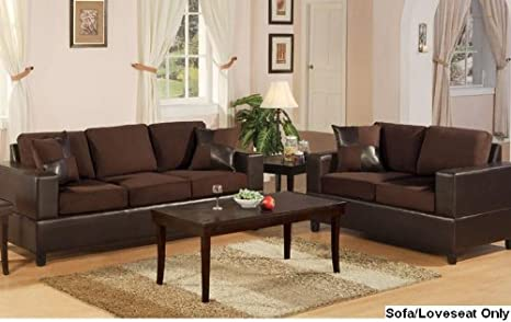 2 pc Chocolate Microfiber two tone sofa and love seat set with free pillows