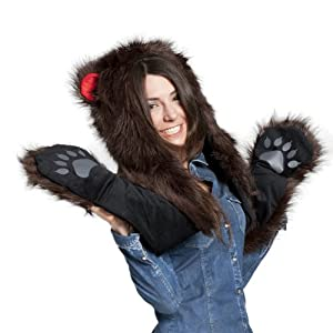 faux fur animal hats hoods brown bear snow. Black Bedroom Furniture Sets. Home Design Ideas