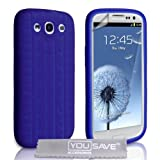 Samsung Galaxy S3 Silicone Gel Tyre Tread Case - Blueby Yousave Accessories