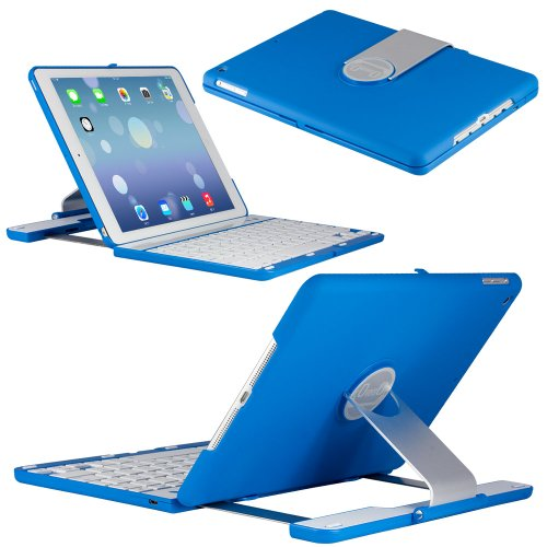 Coverbot Ipad Air Keyboard Case Station Blue Bluetooth Keyboard For Ipad Air 5Th Gen With Ios Commands. Folio Style Cover With 360 Degree Rotating Viewing Stand Feature