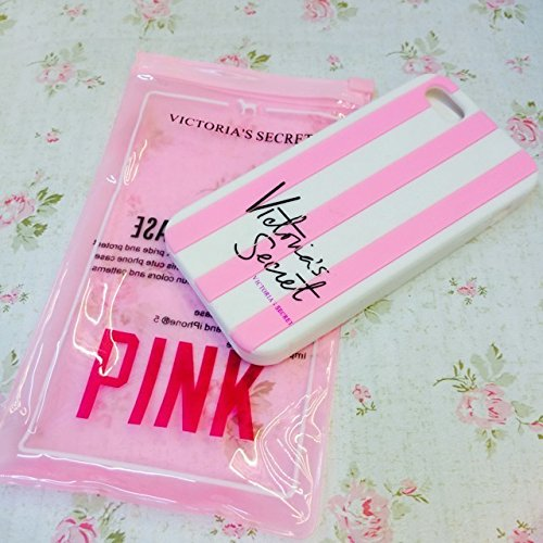Victoria's Secret & Iphone 5, motivo a righe, per Apple Iphone 6-cover rigida in silicone per Apple Iphone, colore: rosa, Gomma, rosa, iPhone 5 & 5S