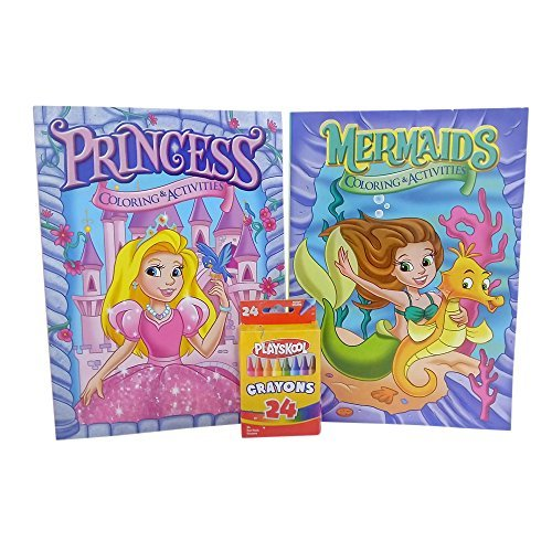 Coloring Books For Kids with Crayons One Mermaid and One Princess Coloring And Activity Book For Girls (96 Pages Assorted Designs) with 24 Piece Crayon Box (Disney Pocahontas Coloring Book compare prices)