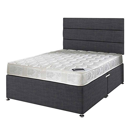 Superb Happy Beds Star Bonnell Spring Damask Mattress with Divan Base Lined Headboard Drawers