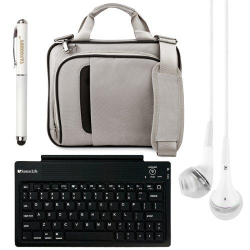 "Pinn Messenger Bag For Hannspree T7 Series 10.1"" Tablet + Bluetooth Keyboard + Vg Stylus Pen + White Vangoddy Headphones (Silver & Black)"
