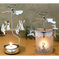 Spinning Candle Holder 1 Angel and 1 Reindeer and Snowflake Scandinavian Design