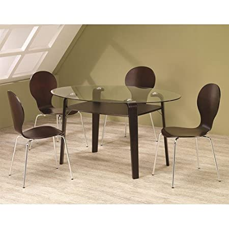Orval 5 Piece Glass Top Table and Chair Set
