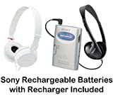 Sony Walkman Portable Lightweight AM FM Stereo Radio with Belt Clip Over the Head Stereo Headphones Studio Monitor Swivel Headphones (White) & Sony Rechargeable Batteries with Recharger