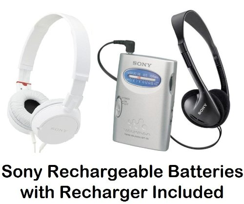 Sony Walkman Portable Lightweight Am Fm Stereo Radio With Belt Clip, Over The Head Stereo Headphones, Studio Monitor Swivel Headphones (White) & Sony Rechargeable Batteries With Recharger