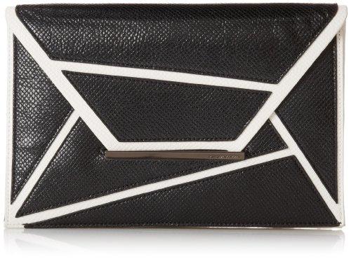 BCBG Harlow Geometric Envelope Clutch,Black/White Combo,One Size