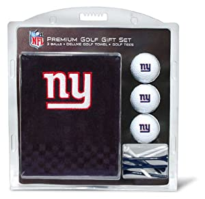 NFL New York Giants Embroidered Golf Towel (3 Golf Balls 12 Tee Gift Set) by Team Golf
