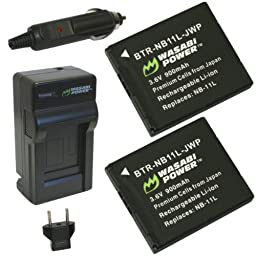 Wasabi Power Battery (2-Pack) and Charger for Canon NB-11L, NB-11LH and Canon PowerShot A2300 IS, A2400 IS, A2500, A2600, A3400 IS, A3500 IS, A4000 IS, ELPH 110 HS, ELPH 115 HS, ELPH 130 HS, ELPH 135 IS, ELPH 140 IS, ELPH 150 IS, ELPH 160, ELPH 170 IS, EL