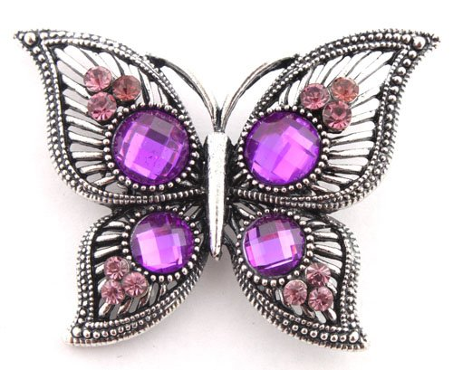 Ladies Silver  Purple Iced Out Butterfly Style