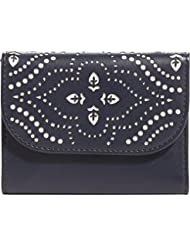 Vera Bradley Laser-Cut Petite Trifold Wallet (Morocco Navy / Coral)