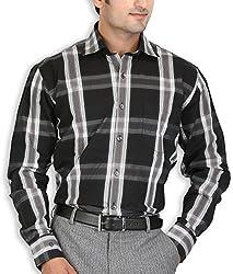 SPEAK Mens Black White Checks Premium Cotton Formal Shirt