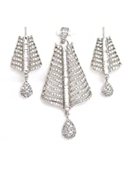 Orne Jewels American Diamond Pendant Set For Women