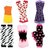 6Pack niñas juDanzy calentadores Paquete de rayas, leopardo, fresa, corazones (Baby/Babe/Infant-Little Ones)