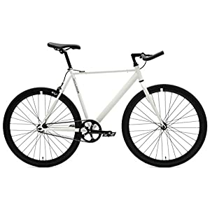 Critical Cycles Classic Fixed-Gear Single-Speed Bike with Pursuit Bullhorn Bars, 53cm/Medium, White