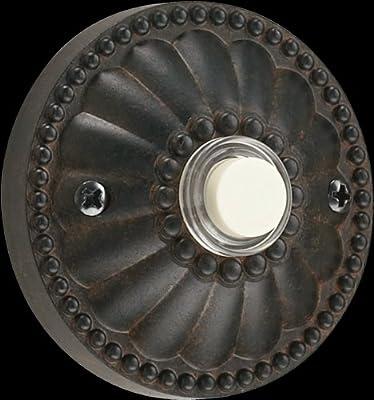 Elegant Round Door Chime Button in Toasted Sienna