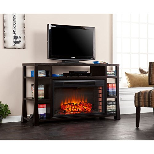Accra TV Media Stand with Built-In Electric Fireplace (Electric Fireplace Open compare prices)