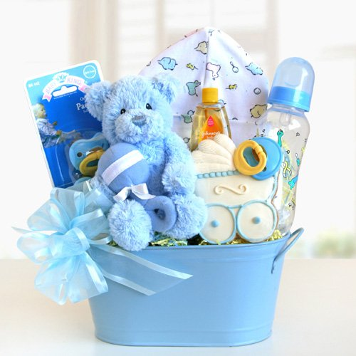 Welcome Baby Newborn Baby Blue Gift Basket for