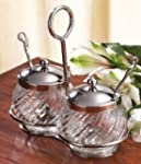 2 Glass Jam Pots with Spoons on Stain...