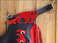 Hilason Large Youth Child Rodeo Bronc Bull Riding Show Leather Chaps W/ Flames by HILASON