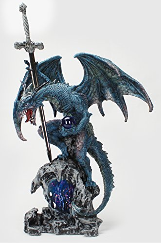 "Blue Dragon Figurine Statue with Sword Letter Opener 16"" Tall"